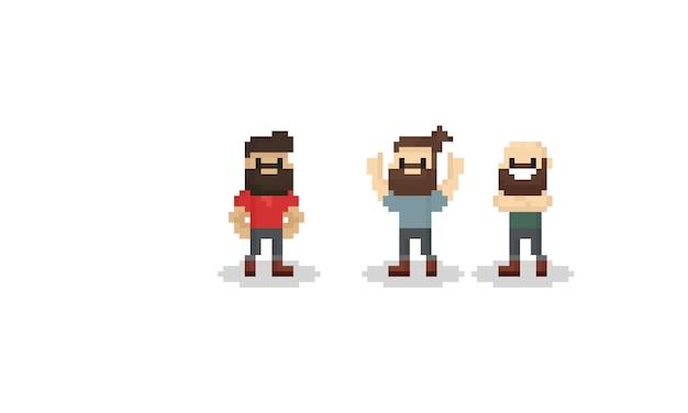 Pixel bebaarde man karakter