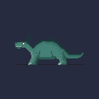 Pixel blauwe draak kleine kaiju