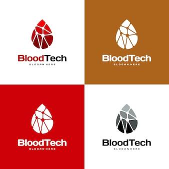 Pixel blood logo symbool, blood healthcare logo ontwerpen sjabloon, blood technology logo ontwerpen concept vector
