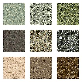 Pixel camouflage patroon ingesteld militaire textiel