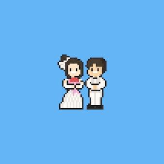 Pixel cartoon bruid en bruidegom karakter