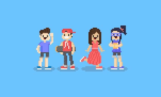 Pixel cartoon tiener karakter. 8bit.