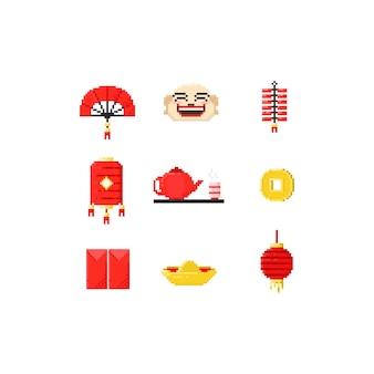 Pixel chinese elementen.8 beetje chinees nieuwjaar.