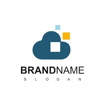 Pixel cloud-logosjabloon voor database- en serverbedrijf