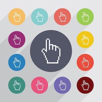 Pixel cursor cirkel, plat pictogrammen instellen. ronde kleurrijke knopen. vector