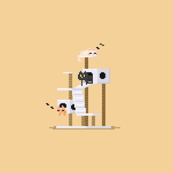 Pixel drie leuke kat die in kattenflatgebouwtje rusten Premium Vector