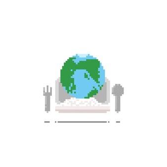 Pixel earth op lunchdoos.