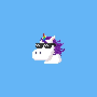 Pixel eenhoorn hoofd draag een zonnebril