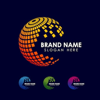 Pixel en geometrische wereldbol logo ontwerpsjabloon