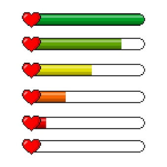Pixel game 8 bit gezondheid hart levensbalk pictogrammen instellen. gaming-controller
