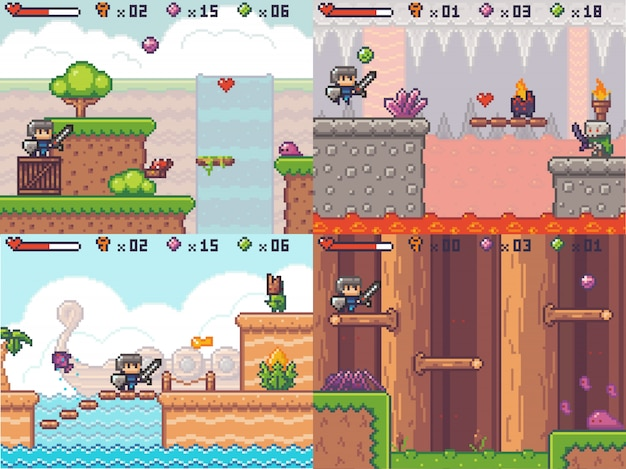 Pixel game avonturen arcade. pixelated zwaardvechter prins loopt. 8 bit gameplay-scène