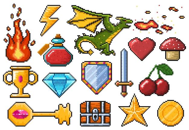Pixel game-elementen. games ui magische items, vuur, trofee, munt, draak en gif set