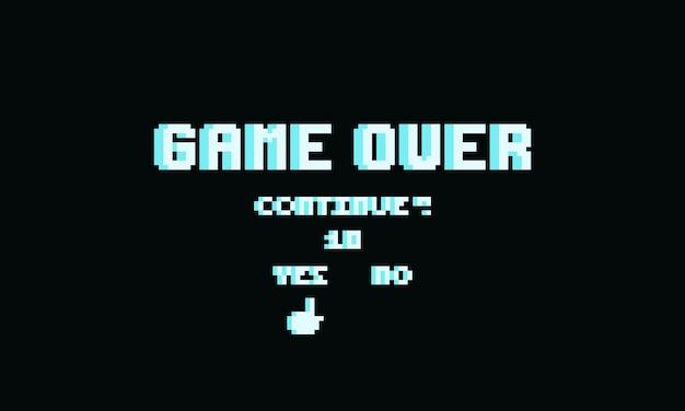 Pixel game over tekst met vervolg button.8bit spel.