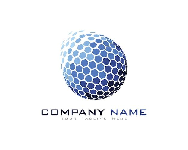 Pixel globe logo design