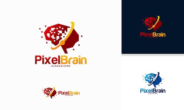 Pixel head logo concept vector, robotic technology logo sjabloon ontwerpen vector illustratie