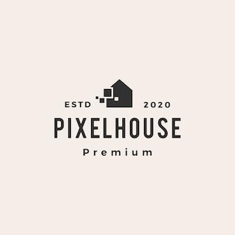 Pixel huis hipster vintage logo pictogram illustratie