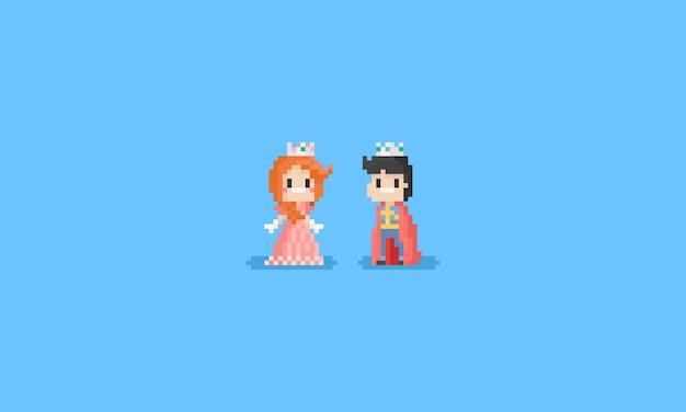 Pixel jongen en meisje in prins en prinses kostuum
