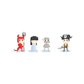 Pixel-kinderen in fantasiekostuum