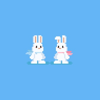 Pixel konijnkarakter met sjaal