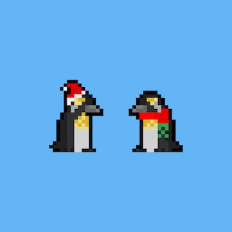 Pixel kunst cartoon pinguïn pictogram.