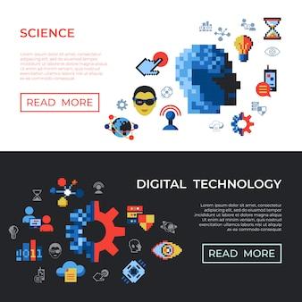 Pixel kunst digitale technologie en netwerk pictogrammen instellen