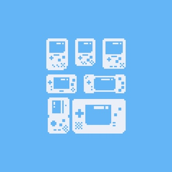 Pixel kunst draagbare game icon set