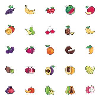 Pixel kunst fruit pictogramserie