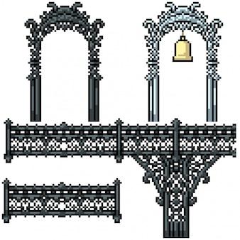 Pixel kunst geïsoleerde luxe brug hek poort