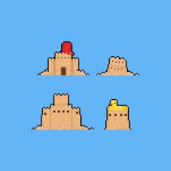 Pixel kunst zandkasteel cartoon set.8bit zomer.