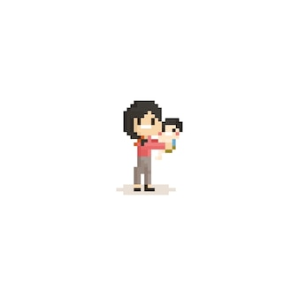 Pixel-moeder met child.8bit character.mother's day