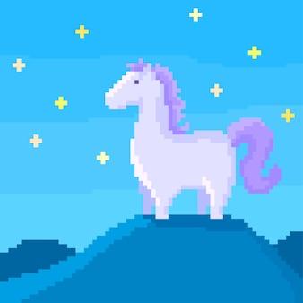 Pixel paard op een heuvel in de sterrennacht.