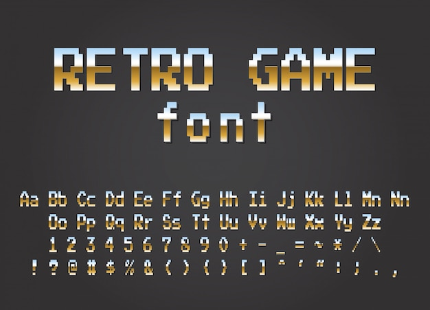 Pixel retro lettertype video computerspel ontwerp