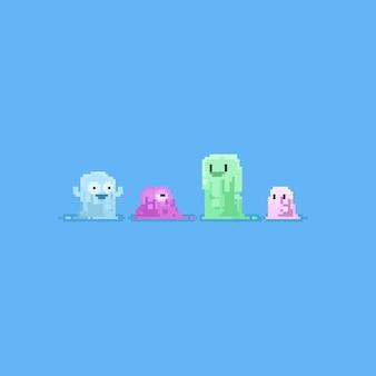 Pixel schattig slijm karakter.pastel kleur