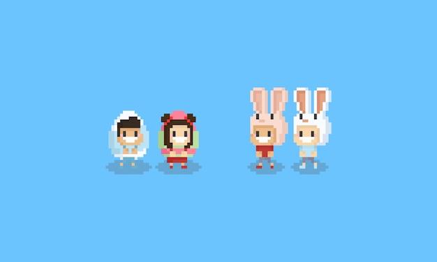 Pixel schattige kinderen in easter egg en bunny head kostuum