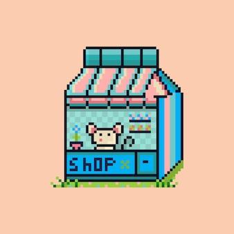 Pixel schattige muis winkel baan kleurrijk retro symbool