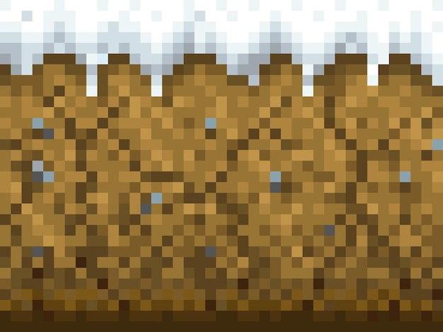 Pixel-spelachtergrond met sneeuw- en grondpatroon