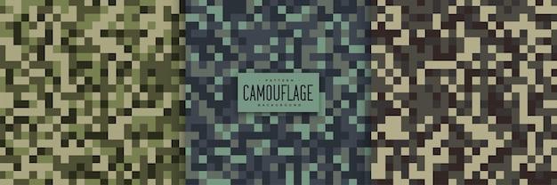 Pixel stijl camouflage naadloze patronen set