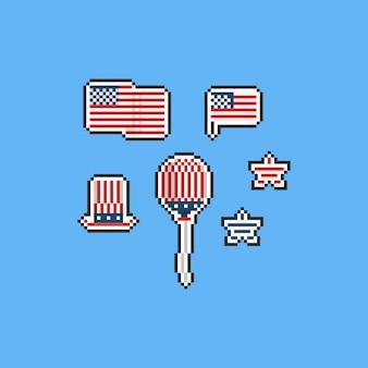 Pixel united staat onafhankelijkheidsdag elementen. 8bit.