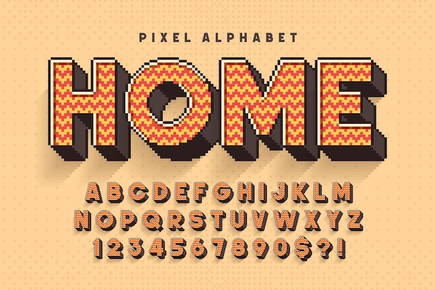 Pixel vector alfabet ontwerp, gestileerd zoals in 8-bits games