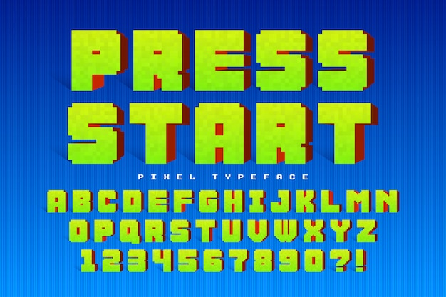 Pixel vector lettertype ontwerp, gestileerd zoals in 8-bit games
