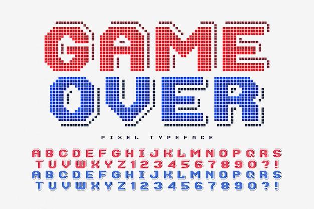 Pixel vectorlettertype, gestileerd zoals in 8-bits spellen