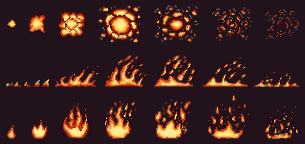 Pixel vuur animatie. roodgloeiende vlam, brandend effect vuurrand en vurige explosieset