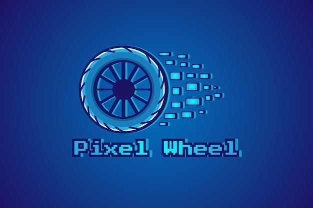 Pixel wiel logo cartoon afbeelding
