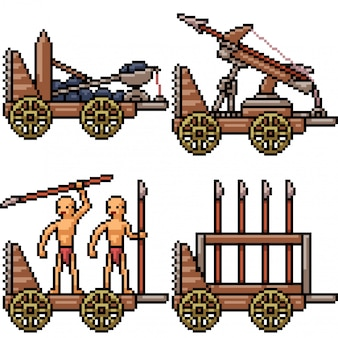 Pixelart geïsoleerd middeleeuwse oorlogswapens