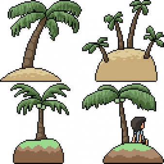 Pixelart geïsoleerd palmeiland