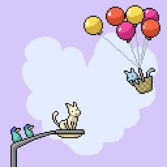 Pixelart van de illustratie van het romantische kattenpaar