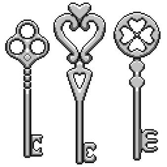 Pixelart van fantasie metalen sleutel geïsoleerd op wit