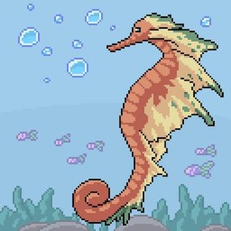 Pixelart van fantasie zeepaardje onder water