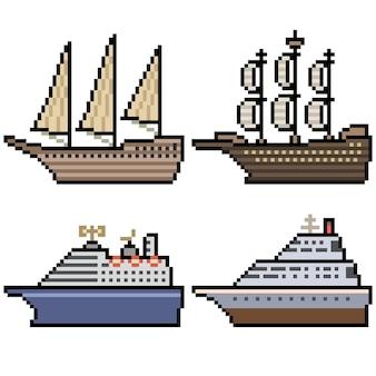 Pixelart van groot cruiseschip