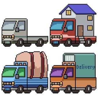 Pixelart van grote transportvrachtwagen die op wit wordt geïsoleerd